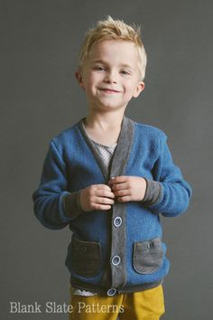 Cool Cardigan sewing pattern for boys and girls by Blank Slate Patterns | Go To Patterns