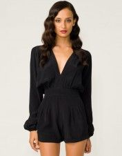 Motel Jet Plunge Neck Playsuit in Black