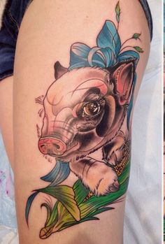 Colors ink and tattoo on bicep on pinterest for Pig skin tattoo