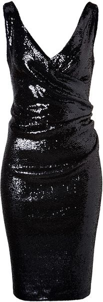Sequined Dress in Black Donna Karan