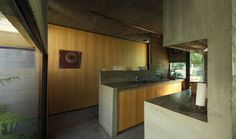 Interior, Astounding BA House Project By BAK Arquitectos Featuring Interior Design With Concrete Floor, Wooden Wall And Ceiling Plus Track Lighting: Artistic Gray Concrete Detail with Natural Concrete Style