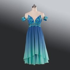"This gorgeous ""mermaid looking"" stage dress has been created for the ""Naiads"" in Napoli Act II or for Teresina in the Blue Grotto scene. This dress is also suitable for ""Le Corsaire"". It is made in tw"
