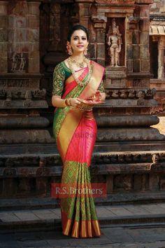 Pretty Pink And Green Color Soft Silk Designer Saree South Indian Sarees, Indian Bridal Sarees, Bridal Silk Saree, Indian Bridal Fashion, Soft Silk Sarees, Indian Beauty Saree, Saree Wedding, Cotton Saree, Wedding Wear