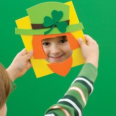 Leprechaun Template for St. Patrick's Day | from Spoonful!  Use a mirror or place a photo in the opening!