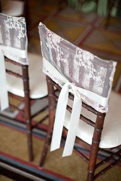 White Lace Chair Hood White Ribbon