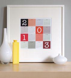 2013 Wall Calendar, New Year, Red - 12 x 12. $20.00, via Etsy.