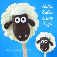 """Hungry Happenings: White and Dark Chocolate Nutter Butter Lamb Pops -- these are so cute! The nutter butter cookie is the chocolate """"head"""" part. Would be fun for a baby shower."""