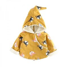 * Fox pattern<br /> * Hooded design<br /> * Back zip<br /> * Soft and windproof<br /> * Material: Shell: 100% Cotton; Lining: 100% Polyester<br /> * Machine wash, tumble dry<br /> * Imported<br /> <br /> Get your little one a trendy hooded coat with back zipper that is soft and windproof.