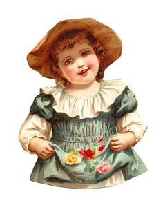 Antique Images: Free Digital Child Clip Art of Pretty Girl with Roses and Straw Hat