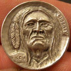 GORDON RAISTRICK HOBO NICKEL - NATIVE AMERICAN INDIAN - 1930 BUFFALO NICKEL Hobo Nickel, Native American Indians, Buffalo, Hand Carved, Coins, Carving, Creative, Artist, American Indians
