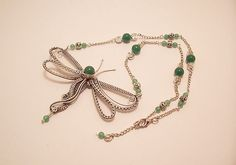 Dragonfly Jewelry Wire Wrapped Pendant by FearlessCreationsbyJ