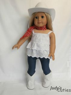 White Cowgirl Hat-Fringe Boots-Top-Bandana Doll Clothes fit American Girl Only