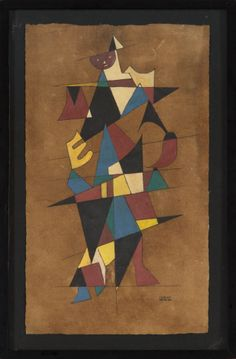 Carlos Mérida - Untitled (Cubist Figure) | From a unique collection of abstract paintings at http://www.1stdibs.com/art/paintings/abstract-paintings/