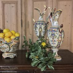 Antique China Love | Antique Urns/Jardinieres | Pair 19th Century Hand-Painted Ewer Vases from Rouen | www.inessa.com