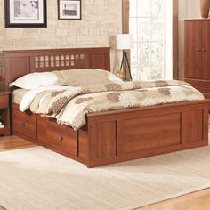 Bayfield Queen Panel Captains Bed by Lang