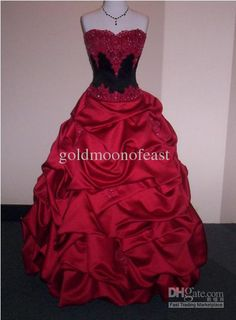 Wholesale Wedding Dresses - Buy Red And Black Sweetheart Satin Lace Applique Beads Sequins Ruffles Ball Gown Bride Wedding Dresses, $176.14 | DHgate