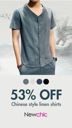 Chinese Style Soft Linen Slim Fit V Neck Short Sleeve Shirts for Men is hot sale at NewChic, Buy best Chinese Style Soft Linen Slim Fit V Neck Short Sleeve Shirts for Men here now! Cool T Shirts, Casual Shirts, Boys Kurta Design, Short Sleeve Linen Shirt, Mens Designer Shirts, Shirt Print Design, T Shirt Vest, Kurta Designs, Chinese Style