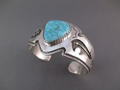Sterling Silver and Lone Mountain Turquoise Cuff Bracelet by Native American jewelry artist, Dina Huntinghorse