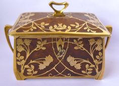 ERHARD & SöHNE Art Nouveau Jewelry Casket, early 1900's, brass with inlaid burl walnut, silk lined, 12 x 9 x 7 cm. Unmarked but illustrated in their 1905 catalogue. Available GBP 475