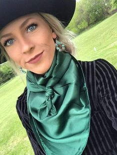 Beautiful satiny feel wild rag scarves Choice of colors Our Baha Ranch rep Bailey is wearing Green x Cowgirl Bling, Cowgirl Style, Western Style, Vintage Western Wear, Cowgirl Tuff, Cowgirl Outfits, Western Outfits, Cowgirl Clothing, Cowgirl Fashion