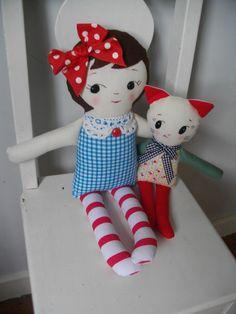 Vintage inspired cloth rag dolls