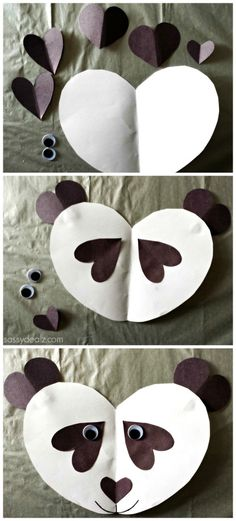 of Easy Valentine's Day Crafts for Kids valentine panda craftvalentine panda craft Valentine's Day Crafts For Kids, Daycare Crafts, Toddler Crafts, Preschool Crafts, Art For Kids, Diy Crafts, Kids Diy, Kindergarten Crafts, Preschool Learning
