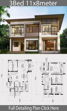 Home design plan with 3 bedrooms. Modern tropical style house with modern look but warm with features. House Layout Plans, Modern House Plans, House Layouts, Modern House Design, Mediterranean Homes Exterior, Mediterranean House Plans, Mediterranean Decor, Tuscan Homes, Exterior Homes