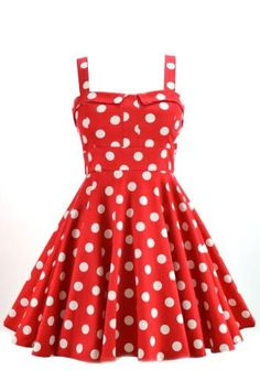 Retro Polka Dot Swing Dress in Red