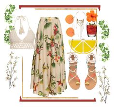 """""""Baby You're Summer Time Fine"""" by tiarheanne ❤ liked on Polyvore featuring Ulster Weavers, Isolda, Vitamin A, Jessica McClintock, Topshop, Pier 1 Imports, contest and tropical"""
