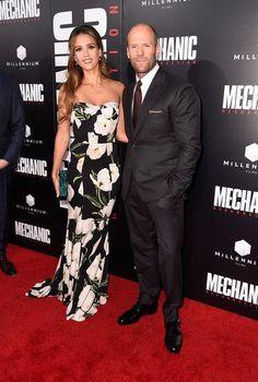Actors Jessica Alba and Jason Statham attend the premiere of Summit Entertainment's 'Mechanic: Resurrection.'
