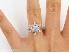 snowflake engagement ring | ... Vintage Diamond Snowflake Cluster Engagement Ring 14k White Gold