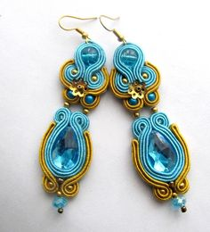 Blue Soutache Earrings with Czech Beads  Soutache Braid Glamour and Shiny Style Gift Colorful Turquoise Gold. $45.00, via Etsy.