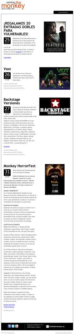 Painting The Monkey, Madrid, informa de sus próximos conciertos mediante newsletter enviado utilizando OcioUno; la plataforma tecnológica para locales de ocio nocturno.