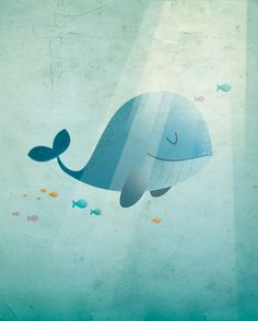 Blue whale art print nursery illustration by IreneGoughPrints