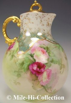 Limoges France Hand Painted Roses Chocolate Pot | eBay