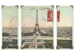 """In my french country living room. above the sideboard. Paris Eiffel Tower Panoramic View 36"""" triptych"""