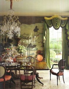 """""""The dining room's Gracie wallpaper depicts Mississippi River scenes."""" Interior design by Richard Keith Langham. Photography by Pieter Estersohn. Architectural Digest (March 2011)."""