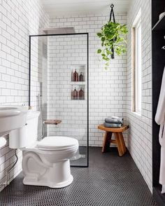 We can't get enough of this black and white industrial bathroom transformation b. - We can't get enough of this black and white industrial bathroom transformation by - Bathroom Renos, Basement Bathroom, Bathroom Renovations, Dyi Bathroom, Bathroom Cabinets, Black And White Bathroom Ideas, Budget Bathroom, Bathroom Inspo, Bathrooms Decor