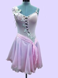 Figure Skating  Dresses Romantic Style Pink Dress With Swarovsky Crystals. $280.00, via Etsy.