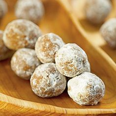 "No-Bake Bourbon Balls Recipe. ""These rich bourbon balls are a festive holiday dessert. The bourbon flavor gets mellower with time, so make these at least one week ahead."" Rated ""outstanding"", rum or whiskey can be substituted for bourbon. Holiday Cookies, Holiday Baking, Christmas Desserts, Christmas Baking, Holiday Treats, Christmas Time, Thanksgiving Desserts, Christmas Candy, Christmas Treats"