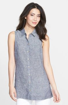 Foxcroft+Sleeveless+Linen+Chambray+Tunic+available+at+#Nordstrom