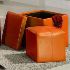 If you're looking to add some excitement - and more storage space - to your living room, you can't go wrong with this orange cube storage ottoman. Made of durable and vibrant orange vinyl, this ottoman is eye-catching and great for storing remotes.