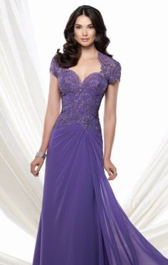 Short Sleeved Lace Gown by Mon Cheri Montage 115974W