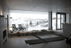 Sirdalen House is a holiday house designed by Filter Arkitekter, an architecture studio based in Oslo, Norway. Concrete Houses, Concrete Building, Snow Cabin, Minimal Home, 3d Home, Cottage Interiors, Architecture Design, House Design, Interior Design