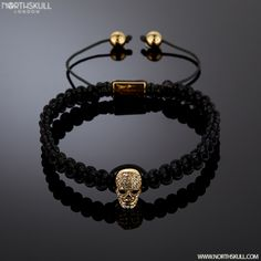 The 18kt. Gold Skull In Our Special Black Macramé Bracelet is Hand Carved To An Extremely High Level Of Detail, Set With Precision Cut Clear Swarovski Crystals It's A Perfect Mixture Of Style  Sophistication. | Available Now At Northskull.com [Worldwide Shipping] #northskull #Jewelry #bracelet #Silver #skulls #luxury