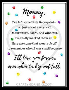 Free Mother's Day Fingerprint Poem Printable - Crafty Morning (Valentins Day Poems For Kids) Mother Poems, Mothers Day Poems, Mothers Day Images, Happy Mother Day Quotes, Mothers Day Cards, Mother Day Gifts, Mom Poems, Mother Images, Mother Quotes