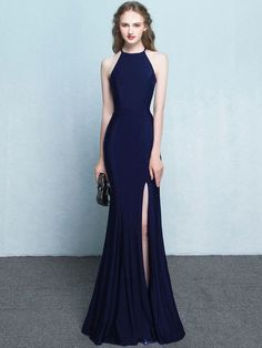 Evening Dress Solid Color O-Neck Sleevesless Sheath Backless Evening Dresses - for women sites Elegant Prom Dresses, Sexy Dresses, Homecoming Dresses, Dress Outfits, Fashion Dresses, Bridesmaid Dresses, Formal Dresses, Party Dresses, Long Dresses
