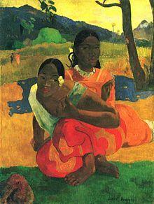 Paul Gauguin - «Nafea Faa Ipoipo» («Quando te casarás?», em português) é um quadro a óleo onde que retrata adolescentes tahitianas e foi pintado em 1892