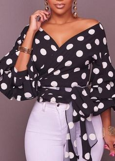 Dylanlla Womens Shirts, Sexy Long Puff Sleeve Polka Dot Ruched V Neck Casual Tunic Tops Blouses T-Shirts with Belt Black Girls Tunics, Blouses For Women, Boho Tops, Sarah Jessica, Vetement Fashion, Mein Style, Mode Hijab, Casual Tops, Casual Shirts