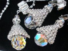 Vintage Rhinestone Crystal Necklace Earrings Demi Set Prong Set 2 Piece | eBay